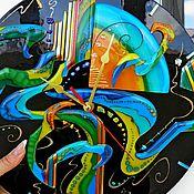 """Для дома и интерьера ручной работы. Ярмарка Мастеров - ручная работа часы """"Радужное время"""".Стекло.Фьюзинг.. Handmade."""