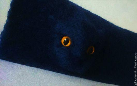 Женские сумки ручной работы. Ярмарка Мастеров - ручная работа. Купить клатч пантера. Handmade. Тёмно-синий, кот, взгляд