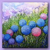 Картины и панно handmade. Livemaster - original item Painting with Flowers Abstract Textural Large Painting 50 by 50 cm. Handmade.