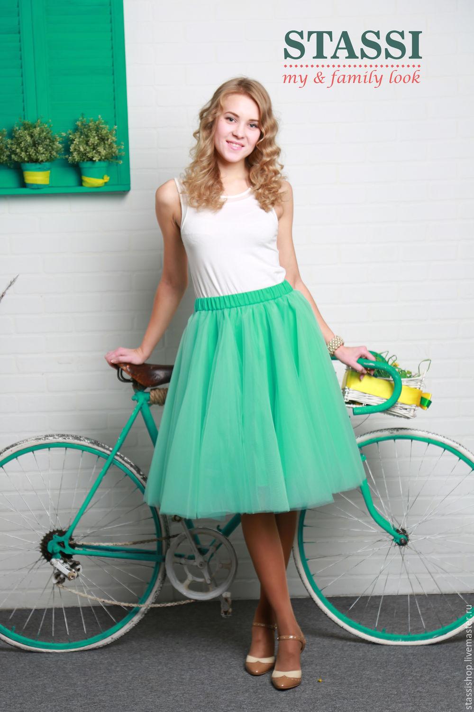 Мятного цвета юбка пышная
