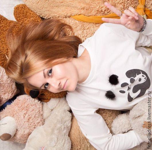 Кофты и свитера ручной работы. Ярмарка Мастеров - ручная работа. Купить Свитшот с пандами. Handmade. Белый, толстовка, 20% полиэстер