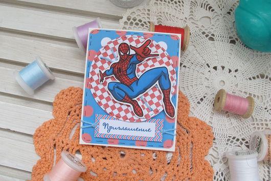 """Пригласительные ручной работы. Ярмарка Мастеров - ручная работа. Купить Приглашение на крестины или день рождения """"36""""человек паук. Handmade."""
