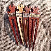 """Украшения ручной работы. Ярмарка Мастеров - ручная работа Шпилька испанская """"Кармэн"""" с деревянной мозаикой. Handmade."""
