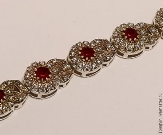 Шикарный рубиновый браслет из серебра и латуни. Украшение Хюррем Султан