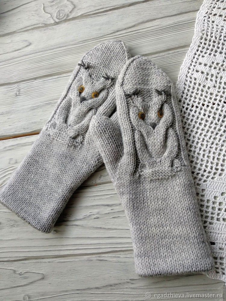 Mittens knitted with needles, double owl, Mittens, Tyumen,  Фото №1