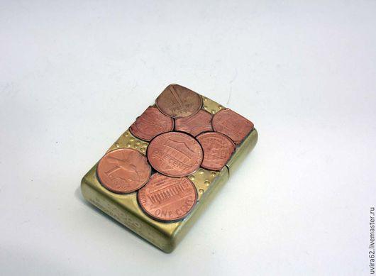 """Подарки для мужчин, ручной работы. Ярмарка Мастеров - ручная работа. Купить Зажигалка Zippo - """" Цент"""". Handmade. Комбинированный"""