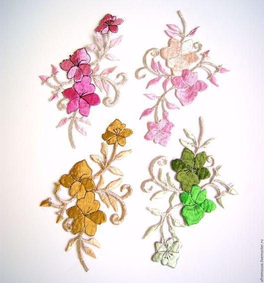 термоапликации `С серебристыми веточками` цветы