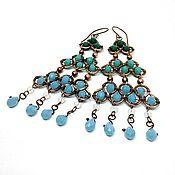Украшения handmade. Livemaster - original item Boho green and blue earrings. Handmade.