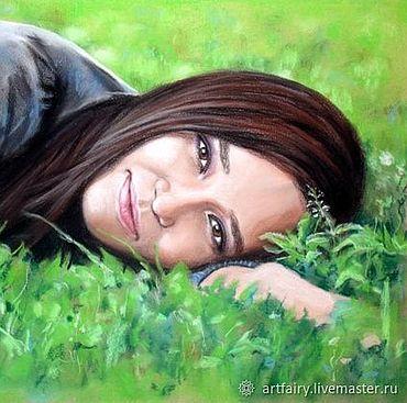 """Картины и панно ручной работы. Ярмарка Мастеров - ручная работа Портрет по фото """"Девушка на траве"""". Handmade."""