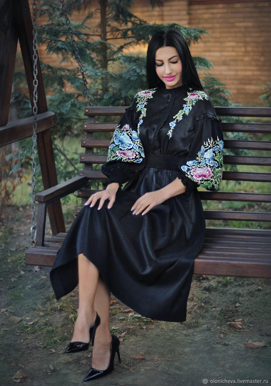 """Нарядное черное платье с ручной вышивкой """"Японский пион-2"""", Платья, Винница,  Фото №1"""
