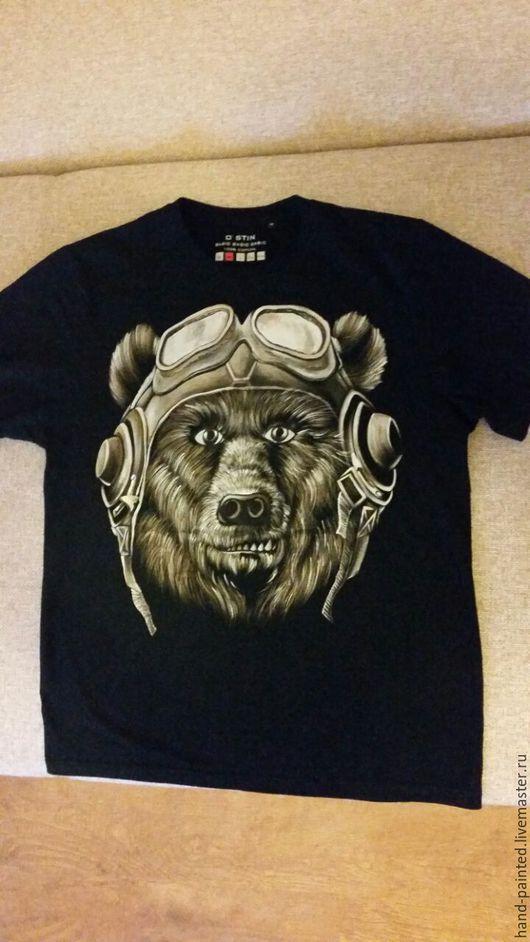 Для мужчин, ручной работы. Ярмарка Мастеров - ручная работа. Купить Медведь летчик. Handmade. Бежевый, рисунок, летчик, медведь