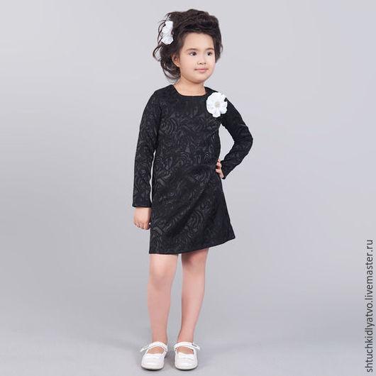 Одежда для девочек, ручной работы. Ярмарка Мастеров - ручная работа. Купить Черное жаккардовое платье с цветком. Handmade. Чёрно-белый