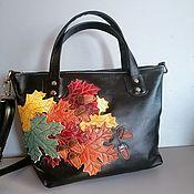 Сумки и аксессуары handmade. Livemaster - original item Women`s leather bag with applique Autumn black classic. Handmade.