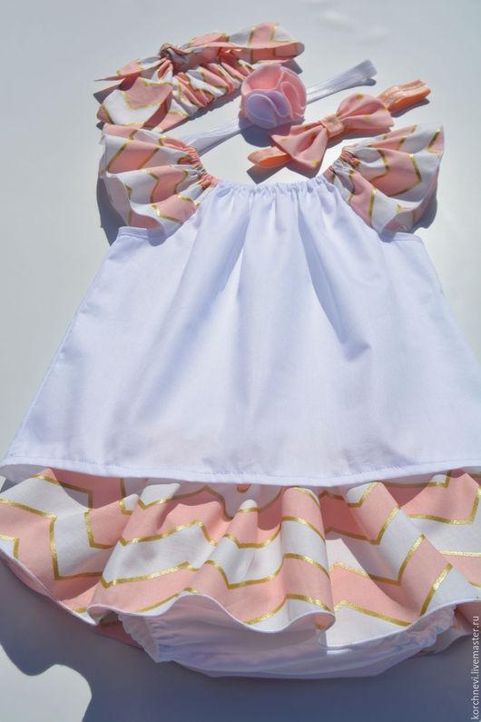 """Одежда для девочек, ручной работы. Ярмарка Мастеров - ручная работа. Купить Комплект для девочки """"нежный персик"""". Handmade. Кремовый"""