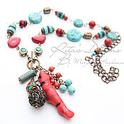 Украшения handmade. Livemaster - original item Boho coral necklace, long chain necklace with coral and turquoise bright. Handmade.