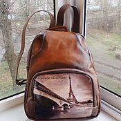 handmade. Livemaster - original item Backpack leather women with painting to order for Svetlana. Handmade.