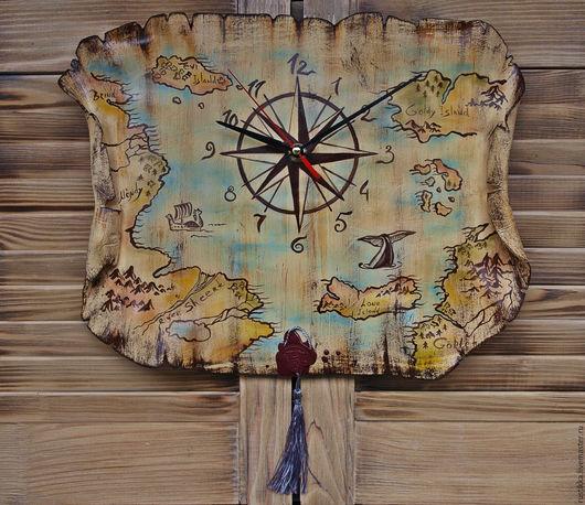"""Часы для дома ручной работы. Ярмарка Мастеров - ручная работа. Купить Часы настенные """"Карта мира"""". Handmade. Бежевый, глина"""