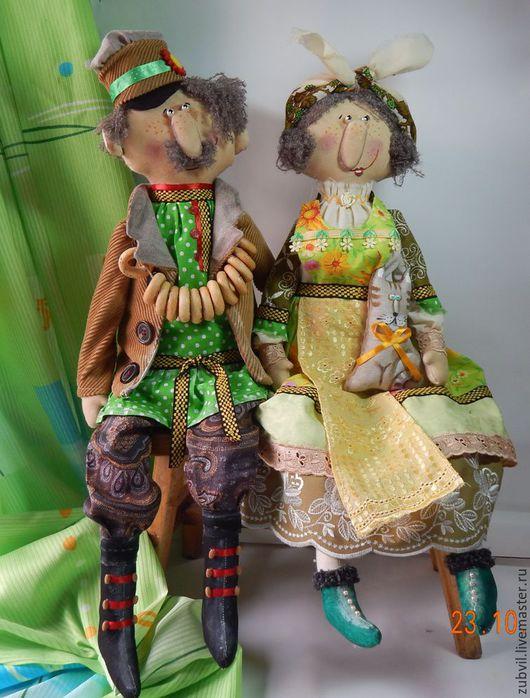 Коллекционные куклы ручной работы. Ярмарка Мастеров - ручная работа. Купить иван и нюра. Handmade. Зеленый, юмор
