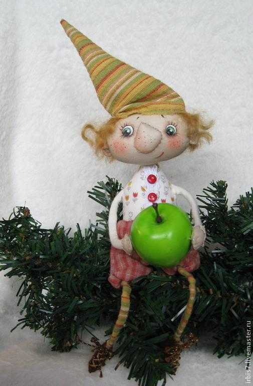 Коллекционные куклы ручной работы. Ярмарка Мастеров - ручная работа. Купить Новогодняя сказка. Handmade. Гном, гномик, гномики, яблоко