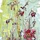 Вертикальная картина, картина маслом озеро, рица туман цветы, олеандр турецкая гвоздика,  картина для бежевой гостиной, голубой рыжий желтый, светло зеленый красный, подарок хозяйке дома,  современная