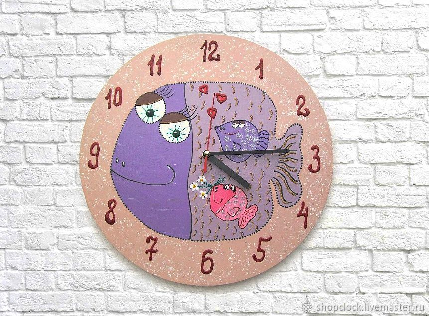 Wall clock Fish - mom. Watch as a gift, Watch, Novosibirsk,  Фото №1