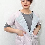 Одежда handmade. Livemaster - original item Grey-pink double-sided quilted spring vest. Handmade.