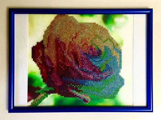 """Картины цветов ручной работы. Ярмарка Мастеров - ручная работа. Купить Алмазная выкладка """"Роза"""". Handmade. Подарок, подарок девушке"""
