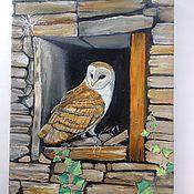 Картины и панно ручной работы. Ярмарка Мастеров - ручная работа 14. Картина маслом Сипуха на окне 30 на 40 см. Handmade.