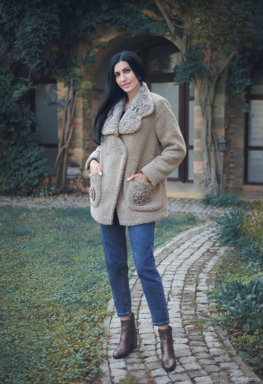 Stylish fur coat with hand embroidery ' Autumn coolness', Fur Coats, Vinnitsa,  Фото №1