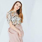 Одежда ручной работы. Ярмарка Мастеров - ручная работа Розовая весенняя (летняя) юбка миди, на поясе, с глубокими складками. Handmade.