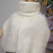"Аксессуары handmade. Livemaster - original item Шарф вязаный пуховый белый ""Английский боб"" , натуральный козий пух. Handmade."
