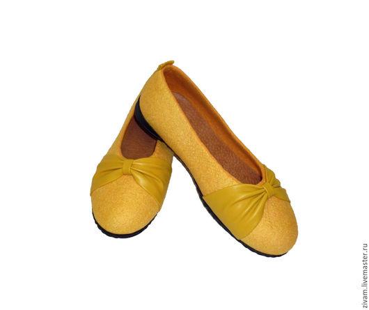 """Обувь ручной работы. Ярмарка Мастеров - ручная работа. Купить Валяные туфли балетки """"Кокетка"""" нуновойлок, натуральная кожа. Handmade."""