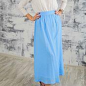 Одежда ручной работы. Ярмарка Мастеров - ручная работа Юбка голубая из  хлопковой марлёвки. Handmade.