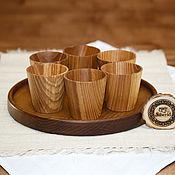 Посуда handmade. Livemaster - original item Set of Wooden wine Glasses (6#31. Handmade.