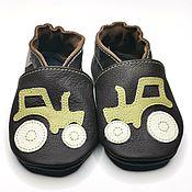 Одежда детская handmade. Livemaster - original item Baby Shoes with Tractor, Dark Brown Boy Shoes, Soft Sole Baby Shoes. Handmade.