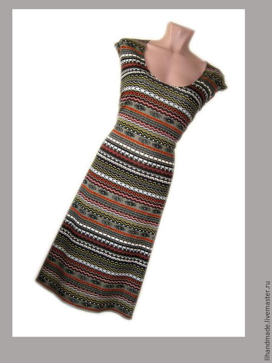 """Платья ручной работы. Ярмарка Мастеров - ручная работа. Купить Платье трикотажное """"Орнаменты"""". Handmade. Черный, платье средней длины"""