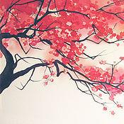 """Картины и панно ручной работы. Ярмарка Мастеров - ручная работа Батик панно """"Моя сакура"""". Handmade."""