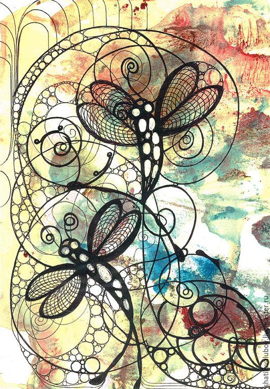 """Картины цветов ручной работы. Ярмарка Мастеров - ручная работа. Купить """"Стрекозы"""". Handmade. Комбинированный, репродукция, цветная графика, стрекозы"""