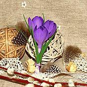 """Украшения ручной работы. Ярмарка Мастеров - ручная работа """"Весенние крокусы"""" Брошь-бутоньерка. Handmade."""