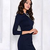 Одежда handmade. Livemaster - original item Sheath dress dark blue. Handmade.