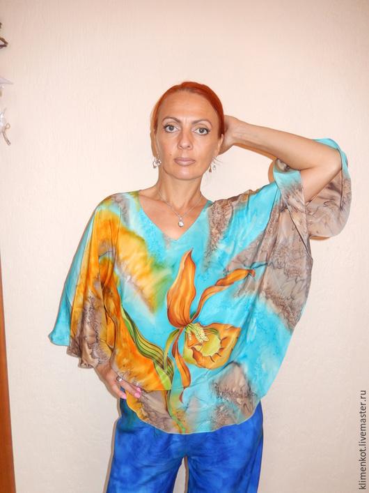 Блузки ручной работы. Ярмарка Мастеров - ручная работа. Купить блуза-Шоколадная орхидея. Handmade. Бирюзовый, блузка, нарядная блузка