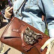Сумки и аксессуары handmade. Livemaster - original item Steampunk leather bag with cat. Steampunk clutch bag. Steampunk accessory.. Handmade.