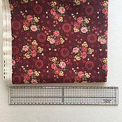 Материалы для творчества handmade. Livemaster - original item Cotton Korea Burgundy with roses. Handmade.