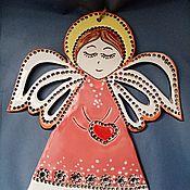 Картины и панно handmade. Livemaster - original item Handmade ceramic wall panel: Angel with heart. Handmade.