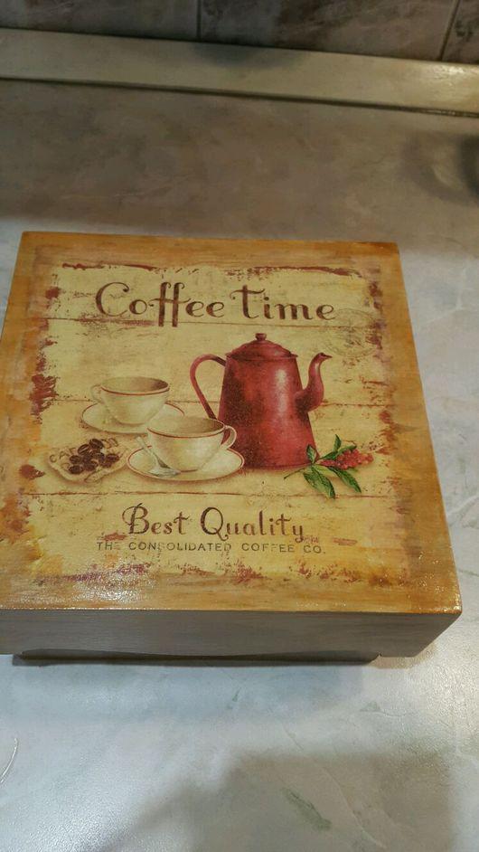 """Кухня ручной работы. Ярмарка Мастеров - ручная работа. Купить Чайный короб """"Coffee time"""". Handmade. Чайная коробка, чай"""
