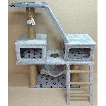 Товары для питомцев ручной работы. Ярмарка Мастеров - ручная работа Балуй-32 джут комплекс с двумя домиками, лестницами и гамаком. Handmade.