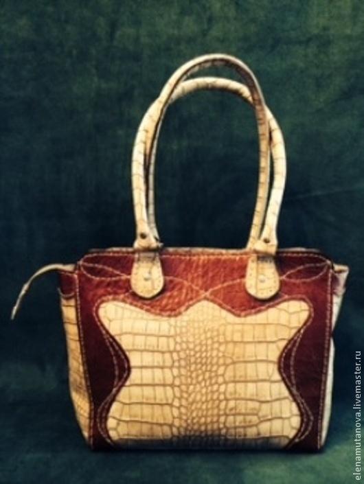 Женские сумки ручной работы. Ярмарка Мастеров - ручная работа. Купить сумка  бежевая с коричневой отделкой. Handmade. Бежевый