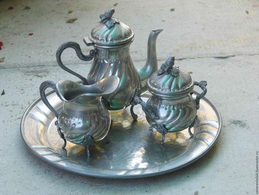 Винтажная посуда. Ярмарка Мастеров - ручная работа. Купить винтажный оловянный кофейный сервиз. Handmade. Серебряный, олово 95%