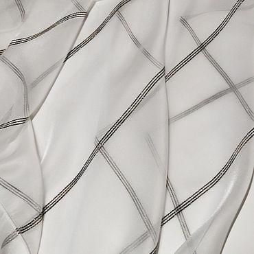 Текстиль ручной работы. Ярмарка Мастеров - ручная работа Белая органза с тонкой коричневой полосой из нитей льна и люрекса.. Handmade.