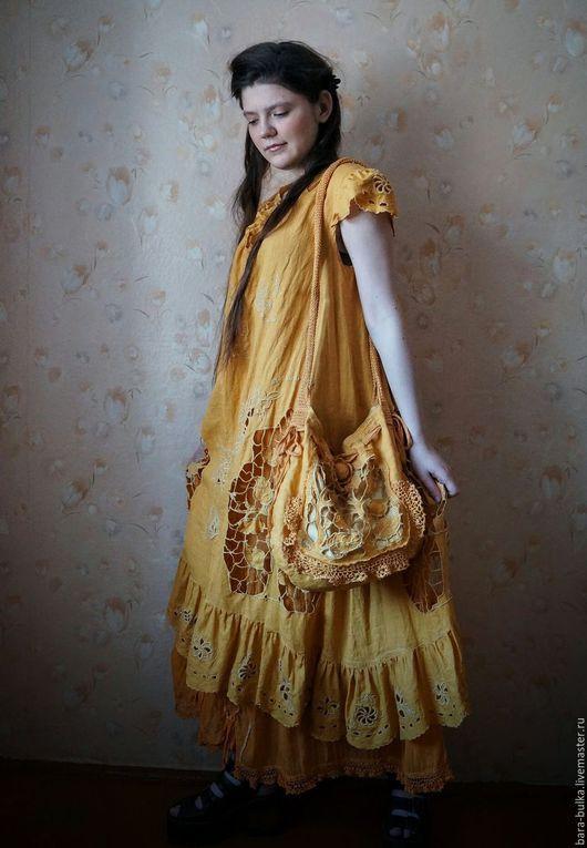 """Платья ручной работы. Ярмарка Мастеров - ручная работа. Купить Копия работы Бохо сарафан """"Яблочно-грушевый"""" с вышивкой ришелье. Handmade."""